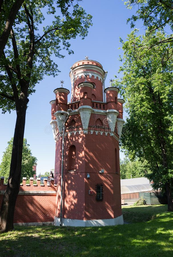 Petrovsky travelling palace in Moscow, neoghotic red bricked arc stock photography