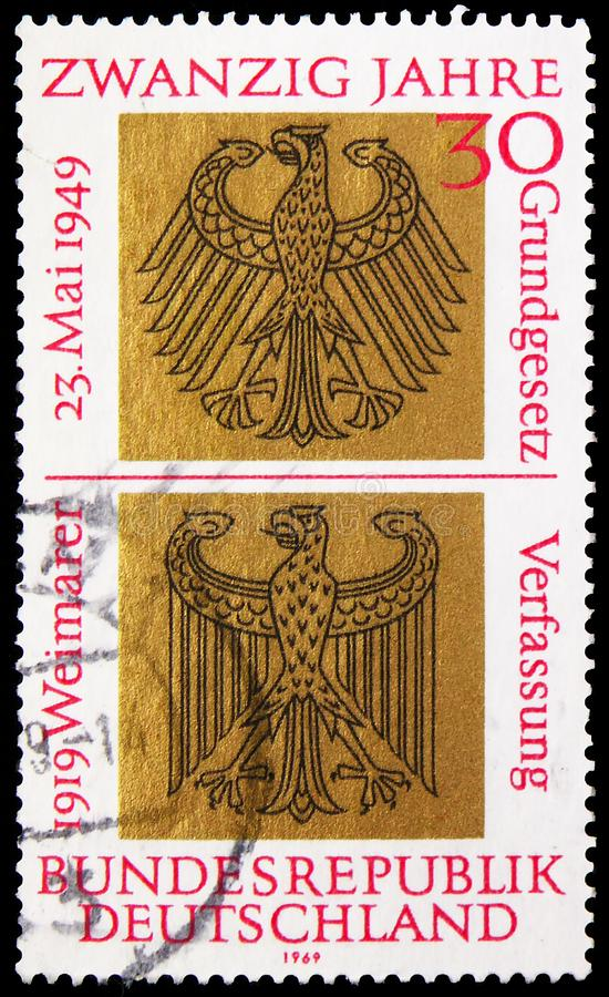 20 Years Federal Republic of Germany, serie, circa 1969. MOSCOW, RUSSIA - JUNE 19, 2019: Postage stamp printed in Germany, Federal Republic, devoted to 20 Years stock photography