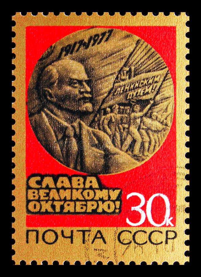 60th Anniversary of Great October Revolution, serie, circa 1977. MOSCOW, RUSSIA - JUNE 19, 2019: Postage stamp printed in Soviet Union USSR devoted to 60th stock photos