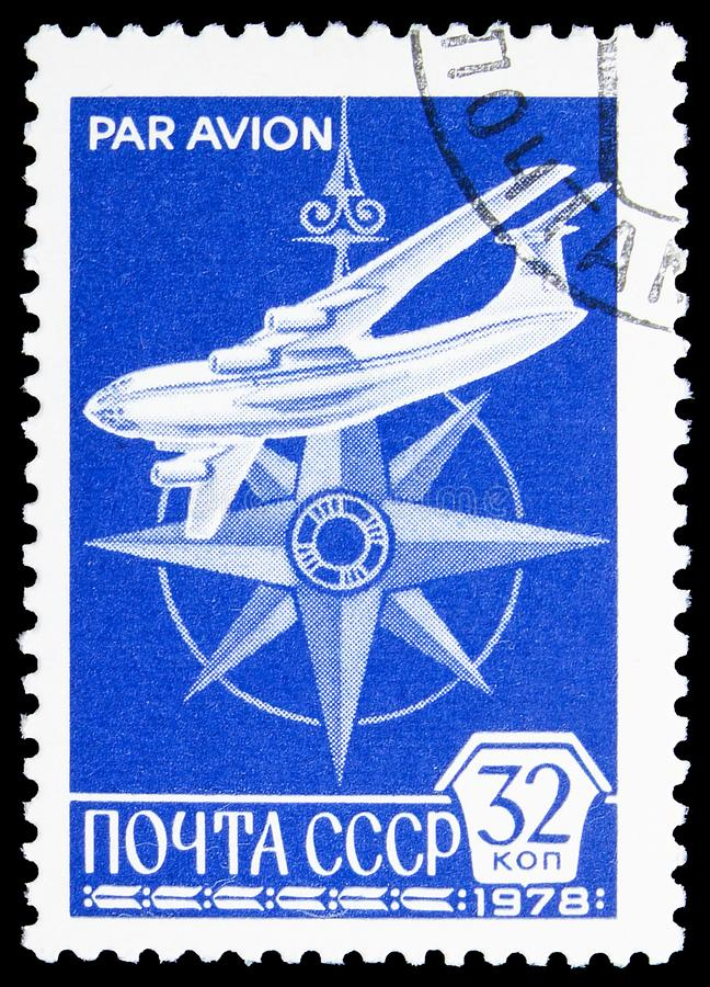 Plane and compass, 12th Definitive Issue serie, circa 1978. MOSCOW, RUSSIA - JUNE 19, 2019: Postage stamp printed in Soviet Union USSR shows Plane and compass royalty free stock photo