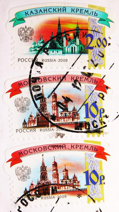 Kazan Kremlin and Moscow Kremlin, 6th Definitive issue serie, circa 2009. MOSCOW, RUSSIA - JUNE 19, 2019: Postage stamps printed in Russia shows Kazan Kremlin royalty free stock photography