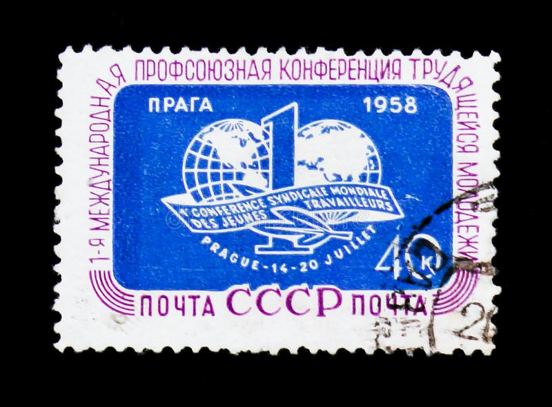 First International congress of trade communities, circa 1958. MOSCOW, RUSSIA - JUNE 26, 2017: Rare stamp printed in USSR Russia devoted to First International royalty free stock photography