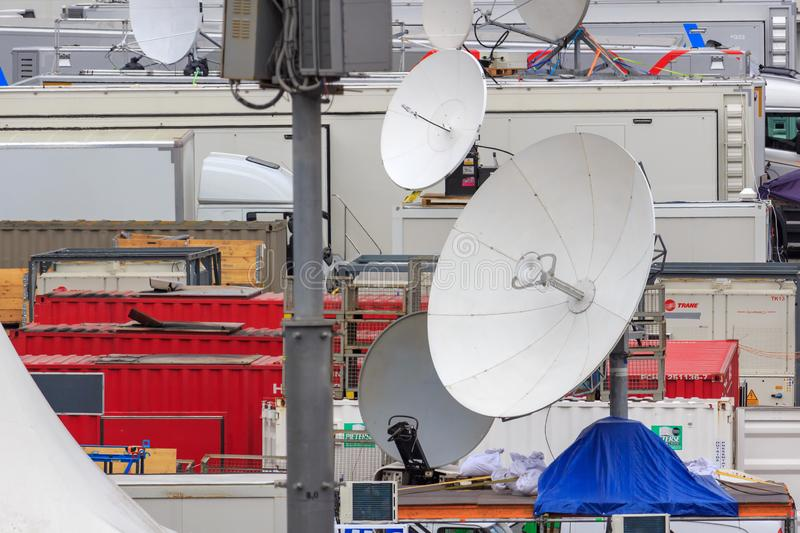 Moscow, Russia - June 21, 2018: Satellite dishes of mobile TV studios closeup on Red square in Moscow stock photography