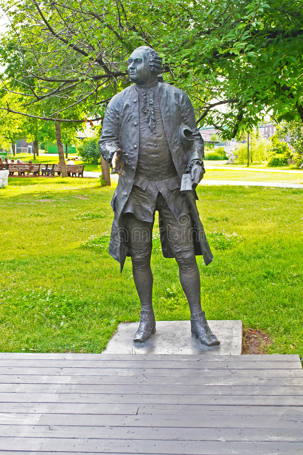 MOSCOW, RUSSIA - JUNE 14, 2016: the Sculpture of Mikhail Lomonosov. Sculpture of Mikhail Lomonosov in Muzeon Park in Moscow in the summer royalty free stock image