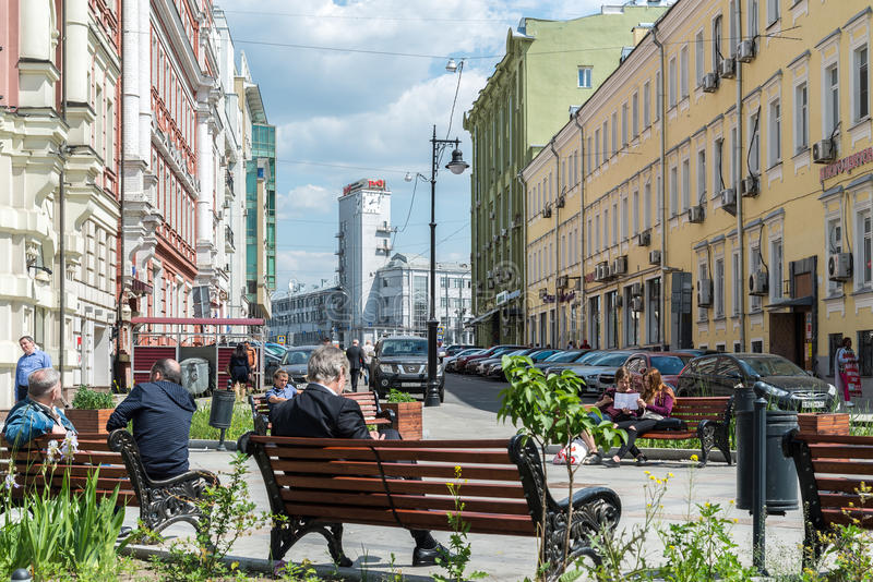 Moscow, Russia - June 02.2016. square on Myasnitskaya Street - a street in historical center of the city royalty free stock image