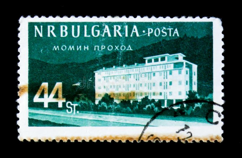 Monn Prochod Surchargé , Bulgarian Recreation Facilities and Places I, circa 1958. MOSCOW, RUSSIA - JUNE 26, 2017: A stamp printed in Bulgaria shows Monn stock photography