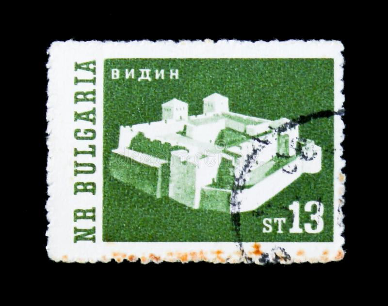 Vidin on the Danube, Sanjak of Vidin, castle of Ottoman empire, Landscapes serie, circa 1962. MOSCOW, RUSSIA - JUNE 26, 2017: A stamp printed in Bulgaria shows royalty free stock images