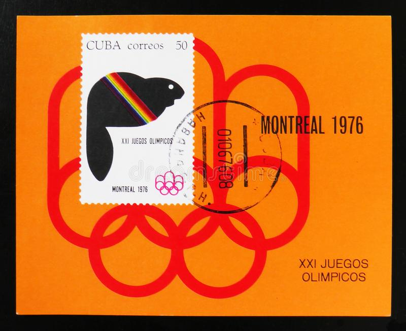 Cuba, series devoted to the Montreal Games 1976, circa 1976. MOSCOW, RUSSIA - JUNE 26, 2017: A stamp printed in Cuba, series devoted to the Montreal Games 1976 stock photos