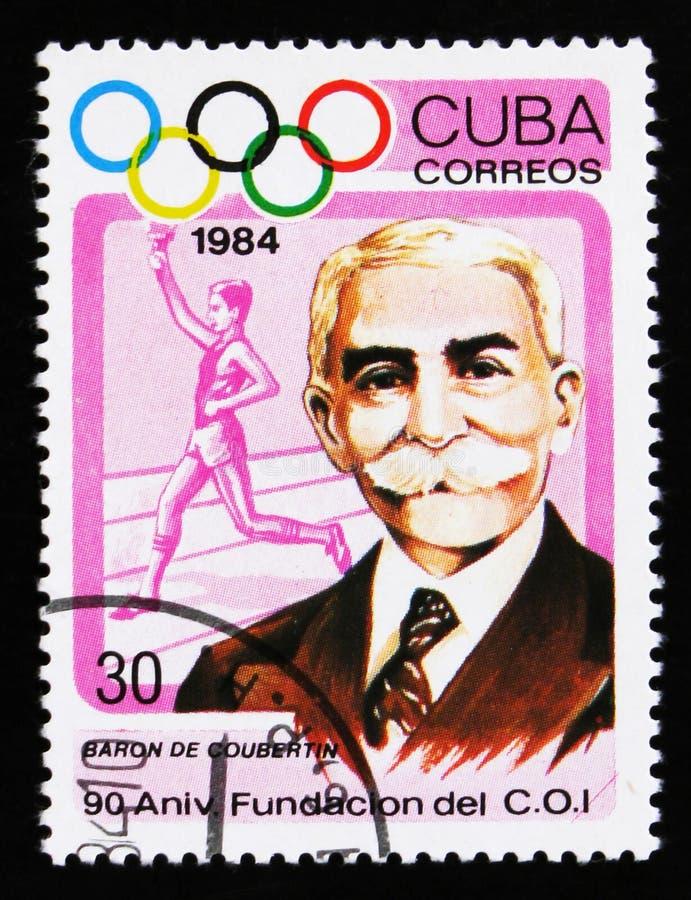 Cuba shows Baron de Coubertin, torchbearer, international Olympic committee, 90th anniversary, circa 1984 royalty free stock image