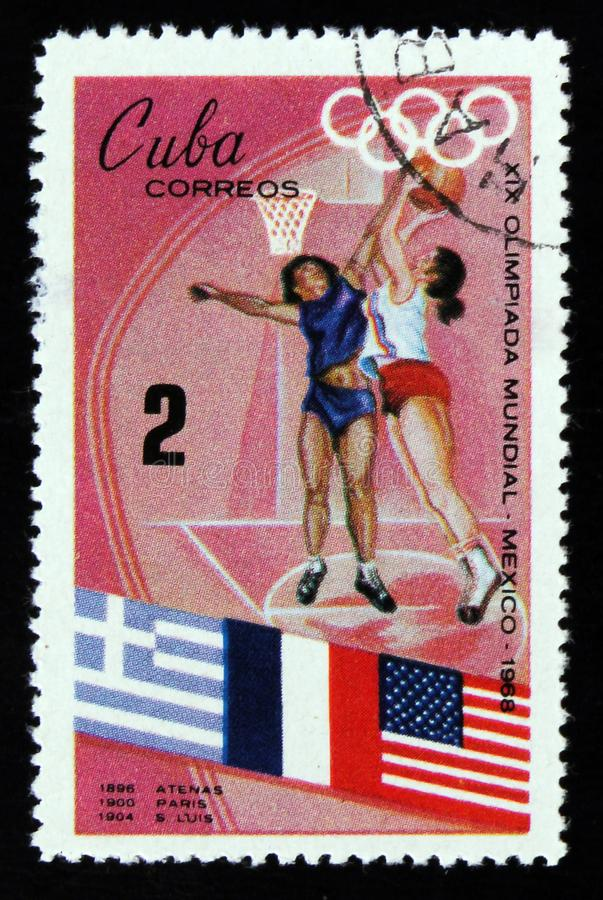 Basketball players, Olympic games in Mexico, circa 1968 stock photography
