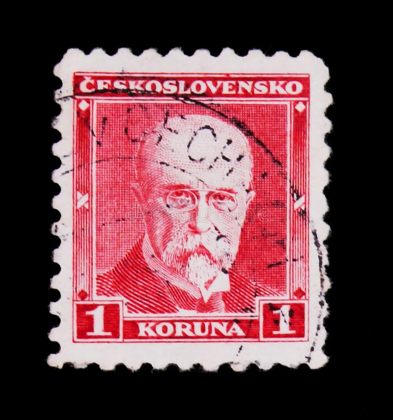 MOSCOW, RUSSIA - JUNE 20, 2017: A stamp printed in Czechoslovakia shows first President of Czechoslovakia - Thomas Masaryk, circa. 1930 stock photo