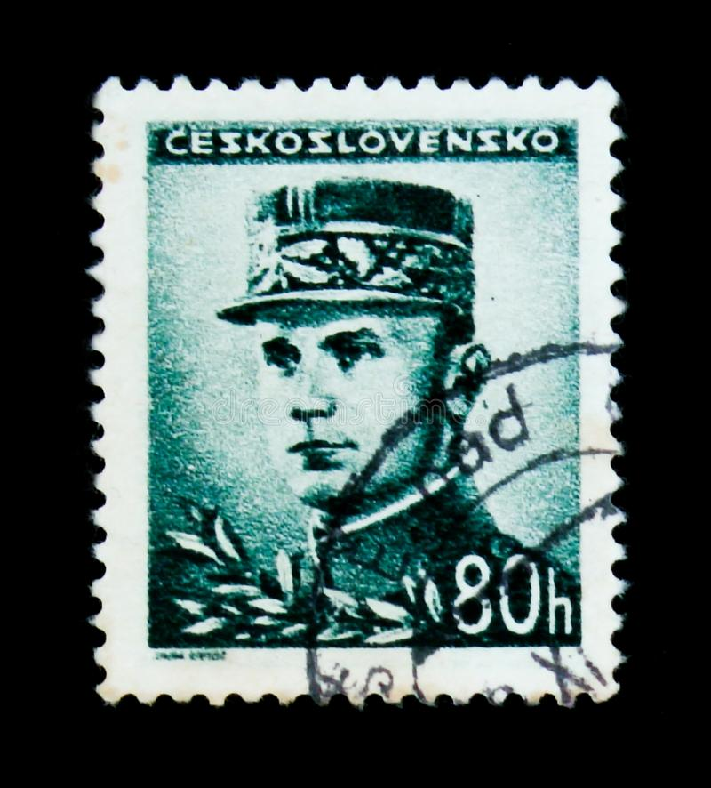 MOSCOW, RUSSIA - JUNE 20, 2017: A stamp printed in Czechoslovakia shows General Milan Rastislav Stefanik, circa 1945 royalty free stock photography