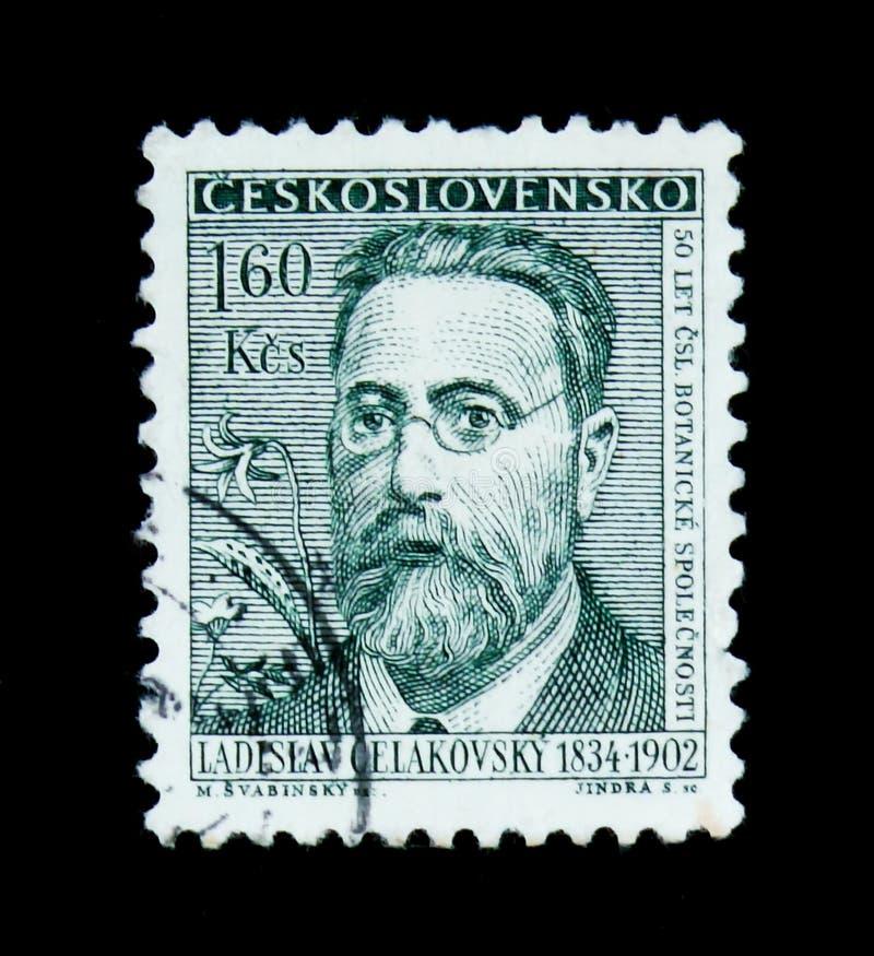 MOSCOW, RUSSIA - JUNE 20, 2017: A stamp printed in Czechoslovakia shows portrait of Czech botanist. Ladislav Celakovsky (1834-1902), series, circa royalty free stock photo