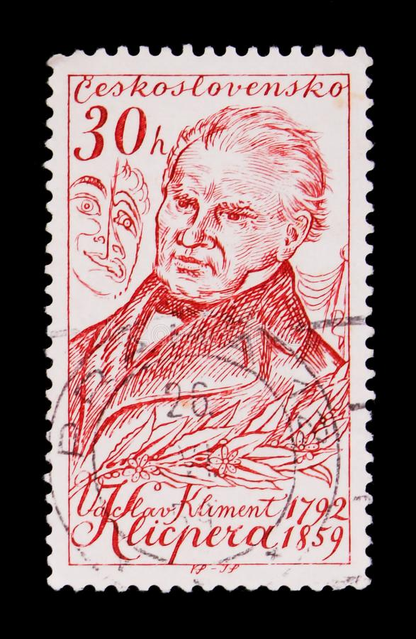 MOSCOW, RUSSIA - JUNE 20, 2017: A stamp printed in Czechoslovakia shows portrait of V. K. Klicpera (1792-1859), playwrighter, cir. MOSCOW, RUSSIA - JUNE 20, 2017 stock photo