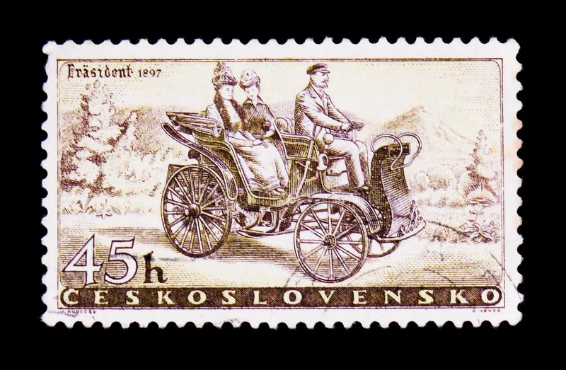 MOSCOW, RUSSIA - JUNE 20, 2017: A stamp printed in Czechoslovakia shows vintage 'President' car of 1897, automobile industry, cir. MOSCOW, RUSSIA - JUNE 20, 2017 stock image