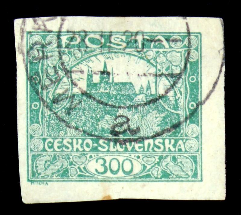 MOSCOW, RUSSIA - JUNE 20, 2017: A stamp printed in Czechoslovakia, circa 1918 stock image