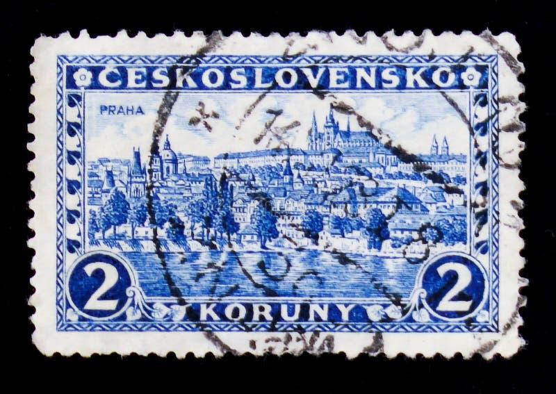 Hradcany, Prague, circa 1926. MOSCOW, RUSSIA - JUNE 20, 2017: A stamp printed in Czechoslovakia shows Hradcany, Prague, circa 1926 stock photos