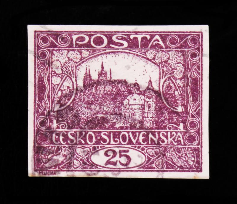 MOSCOW, RUSSIA - JUNE 20, 2017: A stamp printed in Czechoslovakia shows Hradcany at Prague, circa 1918 stock photos