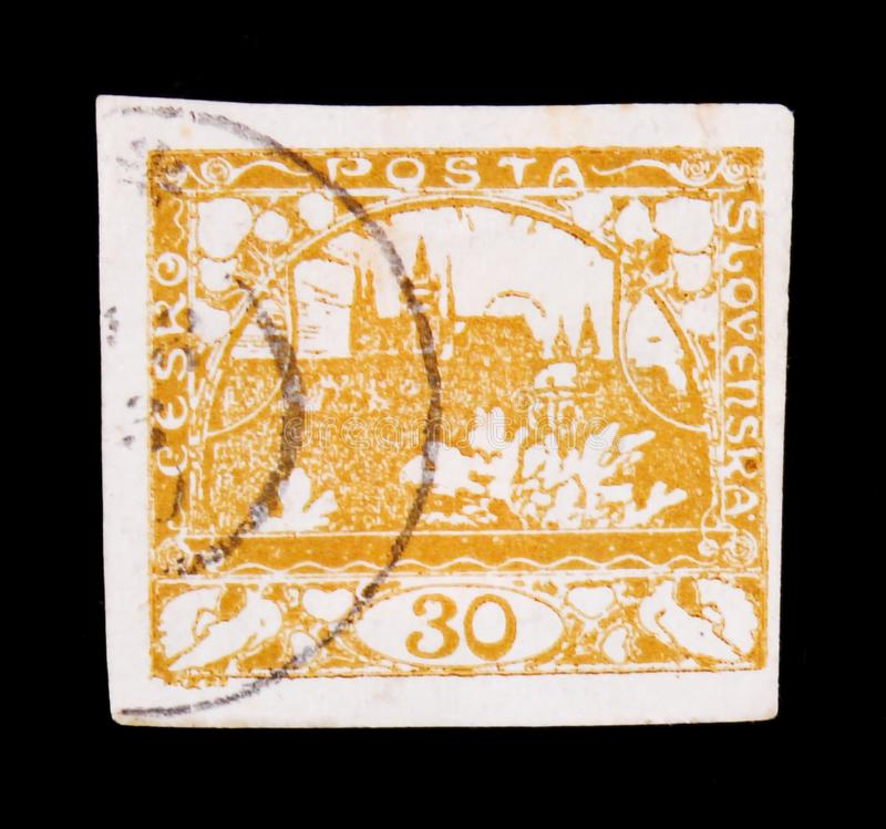 MOSCOW, RUSSIA - JUNE 20, 2017: A stamp printed in Czechoslovakia shows Hradcany at Prague, circa 1918 stock images