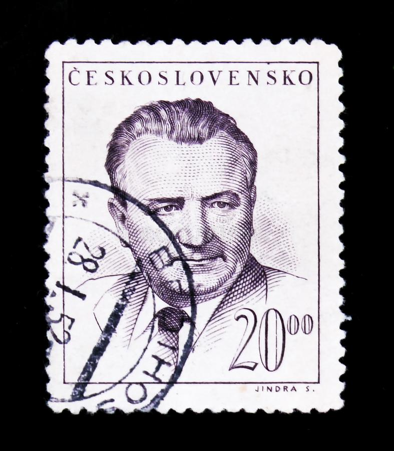 MOSCOW, RUSSIA - JUNE 20, 2017: A stamp printed in Czechoslovakia shows a portrait of President Klement Gottwald, circa 1948 royalty free stock image