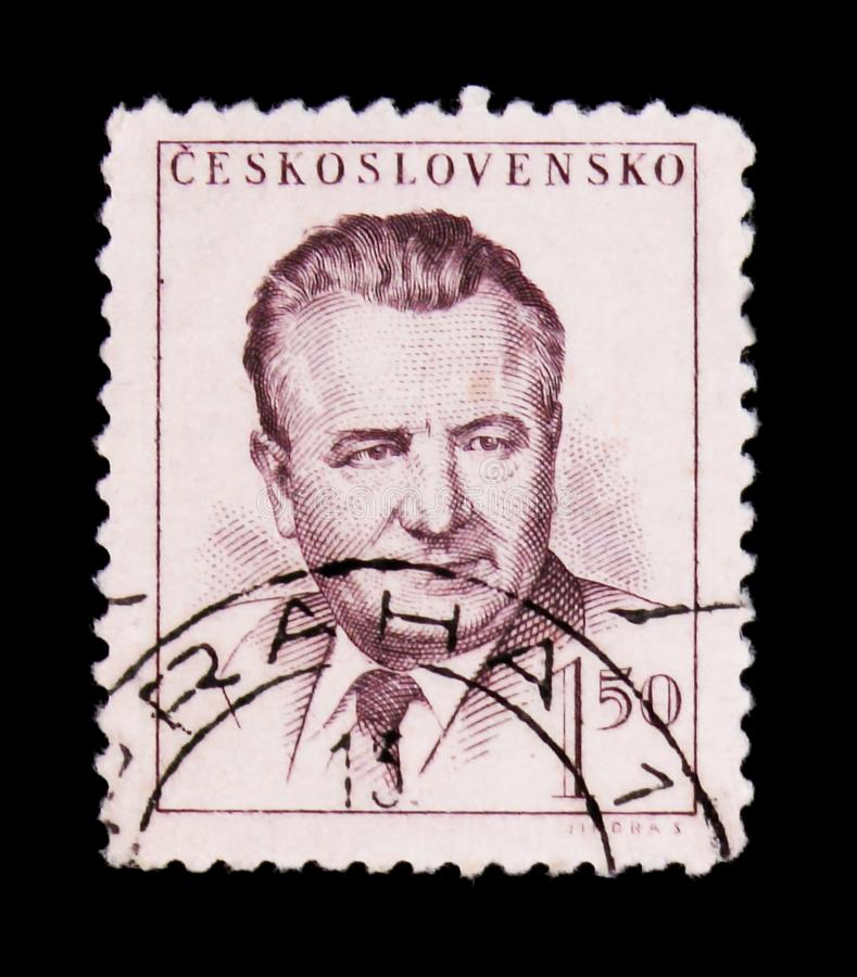 MOSCOW, RUSSIA - JUNE 20, 2017: A stamp printed in Czechoslovakia shows a portrait of President Klement Gottwald, circa 1948 stock image