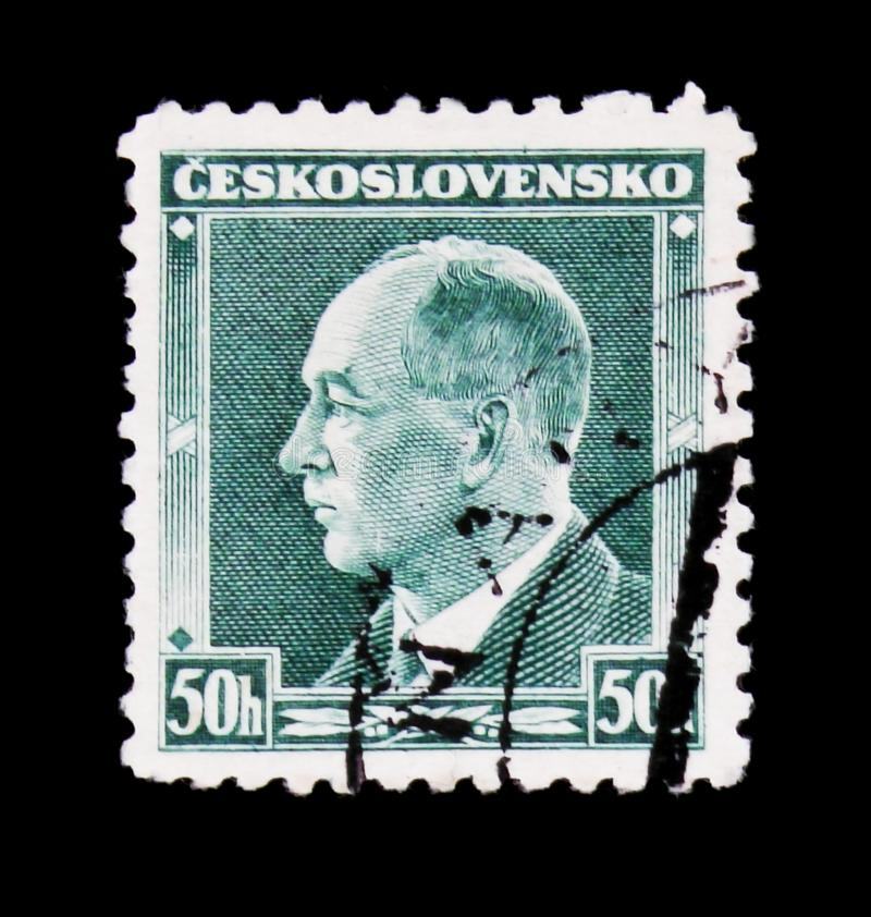 MOSCOW, RUSSIA - JUNE 20, 2017: A stamp printed in Czechoslovakia shows president Edvard Benes, circa 1937 royalty free stock photos