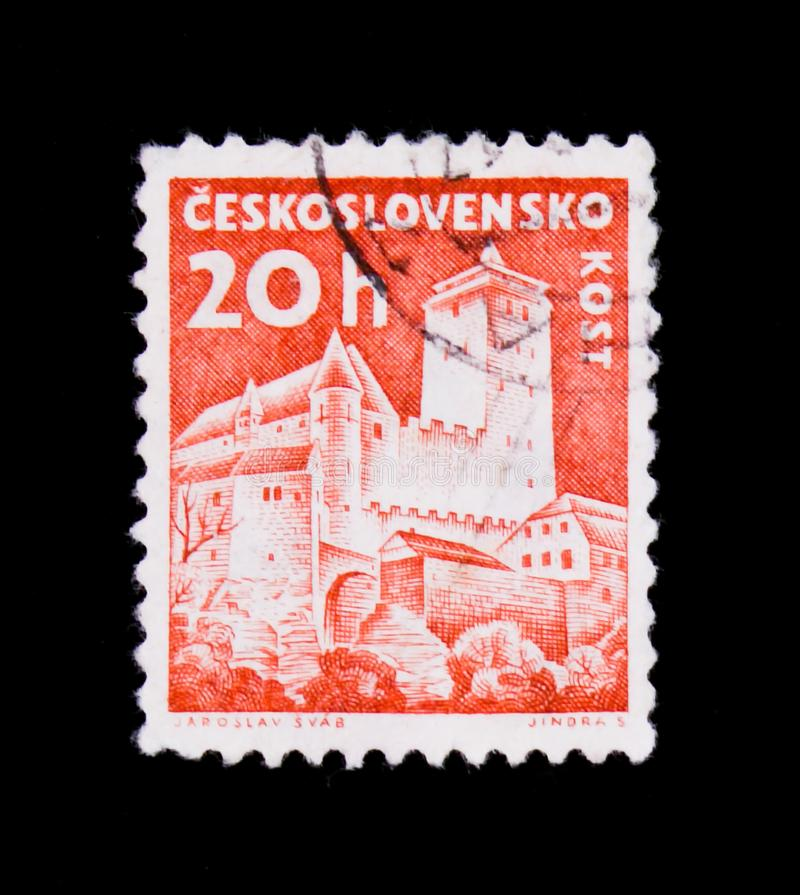MOSCOW, RUSSIA - JUNE 20, 2017: A stamp printed in Czechoslovakia shows shows Kost Castle, circa 1960 stock photography