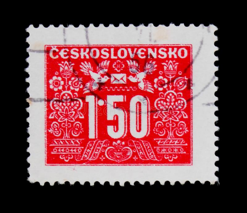 MOSCOW, RUSSIA - JUNE 20, 2017: A stamp printed in Czechoslovakia shows shows Postage due, circa 1946 stock images