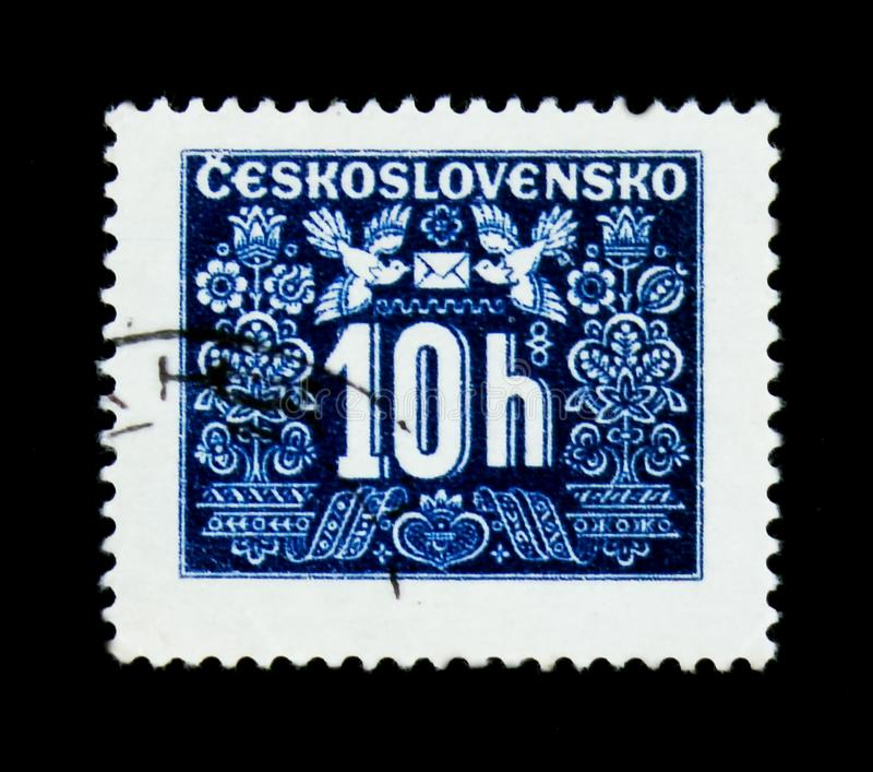 MOSCOW, RUSSIA - JUNE 20, 2017: A stamp printed in Czechoslovakia shows shows Postage due, circa 1946 royalty free stock photography