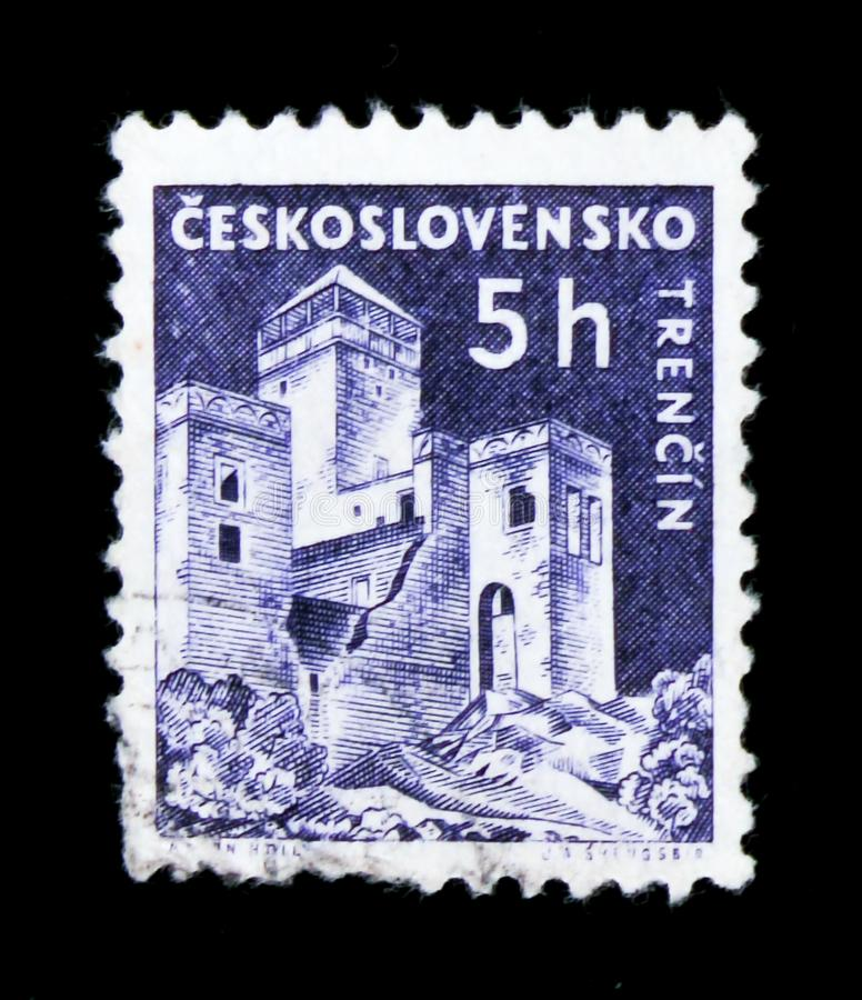 MOSCOW, RUSSIA - JUNE 20, 2017: A stamp printed in Czechoslovakia shows shows Trencin Castle, circa 1960 stock photography