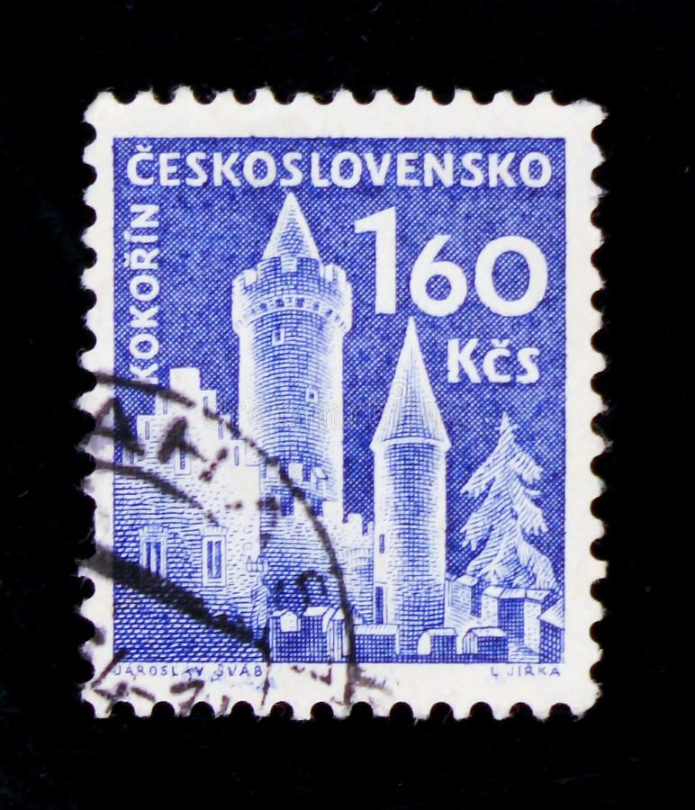 MOSCOW, RUSSIA - JUNE 20, 2017: A stamp printed in Czechoslovakia from the 'Czechoslovak castles' issue shows Kokorin castle, cir. MOSCOW, RUSSIA - JUNE 20, 2017 royalty free stock photo
