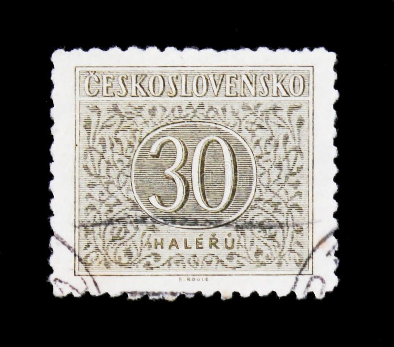 MOSCOW, RUSSIA - JUNE 20, 2017: A stamp printed in Czechoslovakia with the number 30, circa 1955 royalty free stock photography