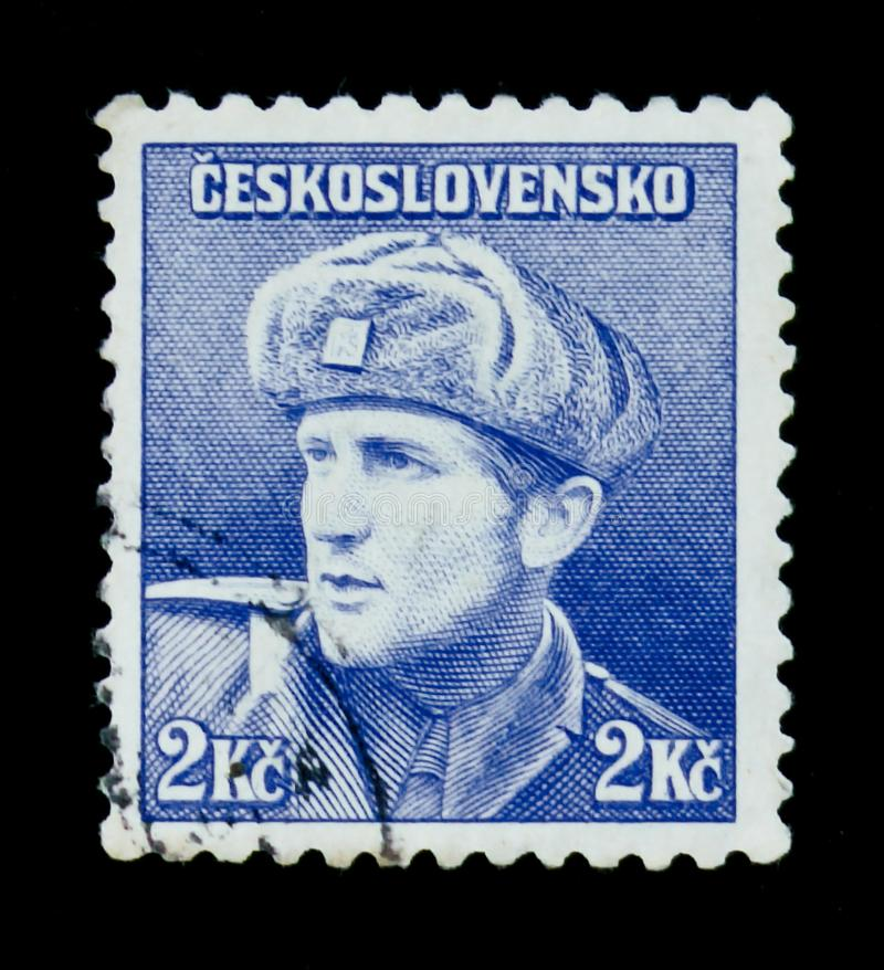 MOSCOW, RUSSIA - JUNE 20, 2017: A stamp printed in Czechoslovakia shows Captain Otakar Jaros (Russian Army), circa 1945. MOSCOW, RUSSIA - JUNE 20, 2017: A stamp stock images