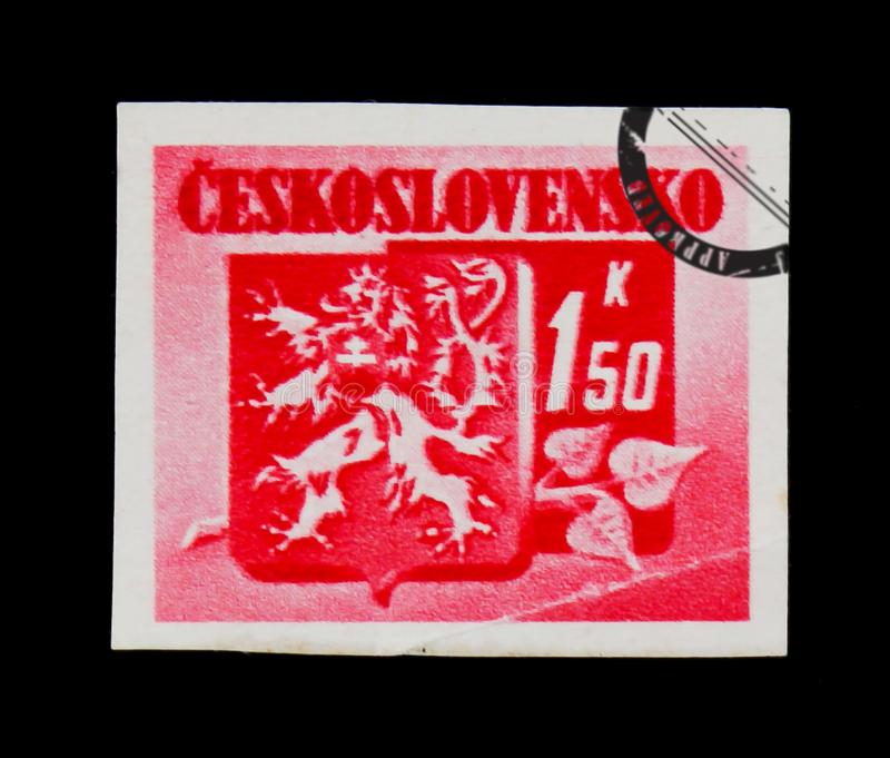 MOSCOW, RUSSIA - JUNE 20, 2017: A stamp printed in Czechoslovakia shows coat of arms, circa 1945 royalty free stock photo