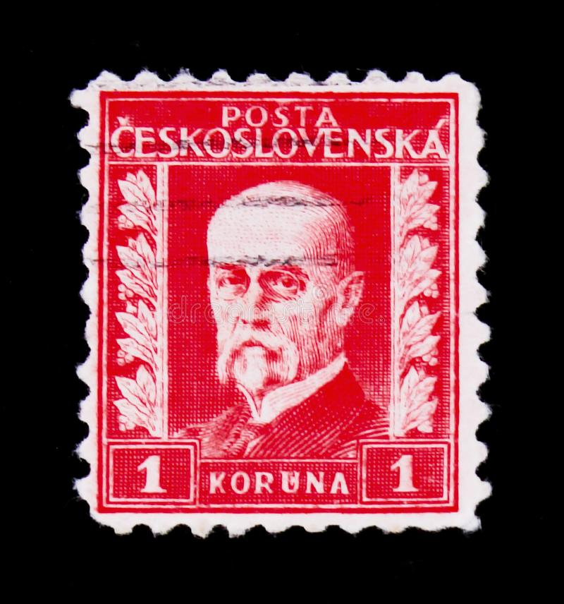 MOSCOW, RUSSIA - JUNE 20, 2017: A stamp printed in Czechoslovakia shows first President of Czechoslovakia - Thomas Masaryk, circa. 1930 royalty free stock images