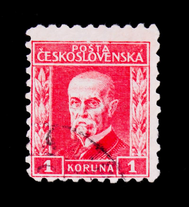 MOSCOW, RUSSIA - JUNE 20, 2017: A stamp printed in Czechoslovakia shows first President of Czechoslovakia - Thomas Masaryk, circa. 1930 stock image
