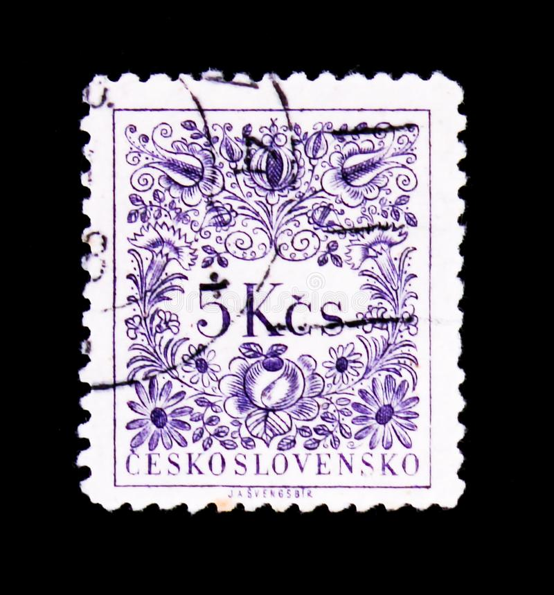 MOSCOW, RUSSIA - JUNE 20, 2017: A stamp printed in Czechoslovakia shows a flower drawing, circa 1954 royalty free stock photography