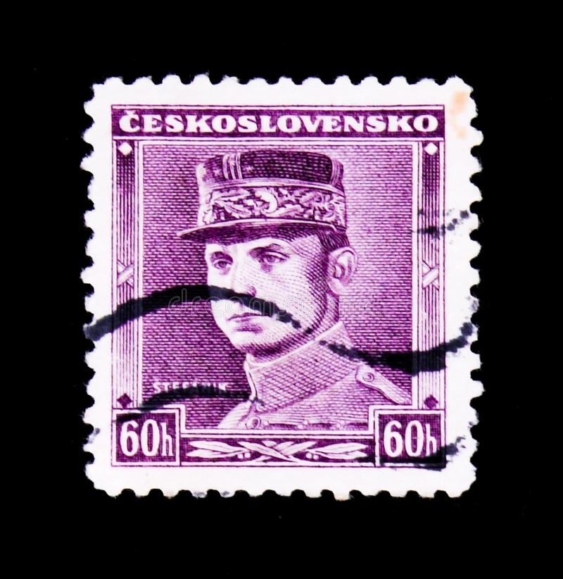 MOSCOW, RUSSIA - JUNE 20, 2017: A stamp printed in Czechoslovakia shows General Milan Rastislav Stefanik, circa 1945 royalty free stock image
