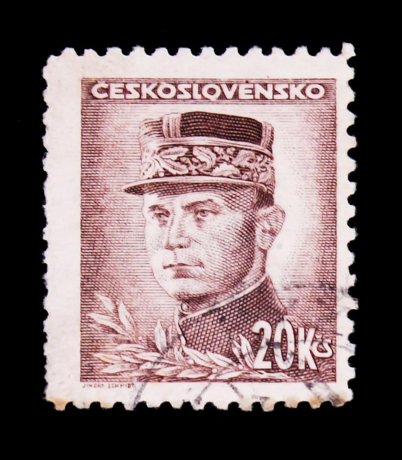 MOSCOW, RUSSIA - JUNE 20, 2017: A stamp printed in Czechoslovakia shows General Milan Rastislav Stefanik, circa 1945 royalty free stock photo