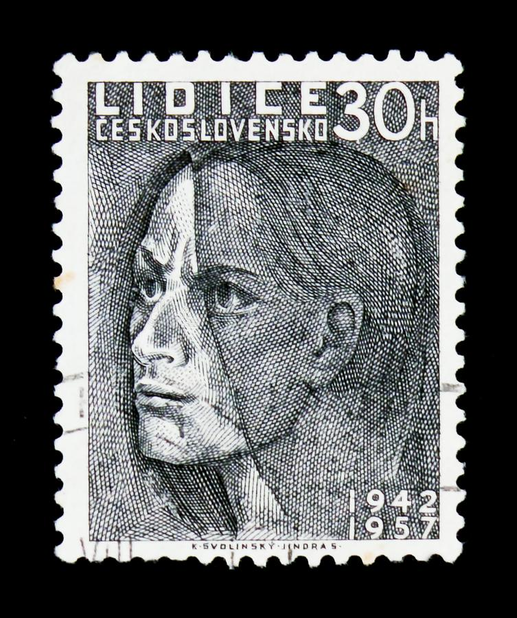MOSCOW, RUSSIA - JUNE 20, 2017: A stamp printed in Czechoslovakia shows head of woman, devoted to 15 years of Lidice massacre in. June 1942, circa1957 stock image