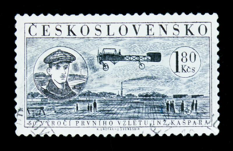 MOSCOW, RUSSIA - JUNE 20, 2017: A stamp printed in Czechoslovakia shows Jan Kaspar and flight of plane, 50 years anniversary of f. Irst flight, circa 1959 royalty free stock photo