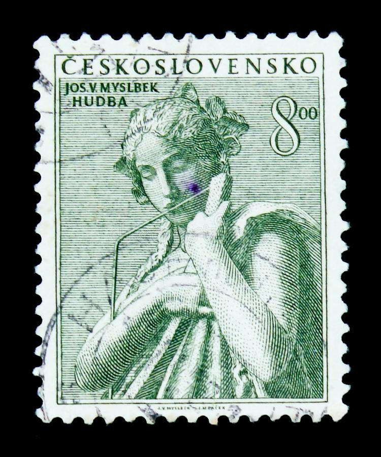 MOSCOW, RUSSIA - JUNE 20, 2017: A stamp printed in Czechoslovakia shows Josef Vaclav Myslbek statue Music, circa 1952 stock photography