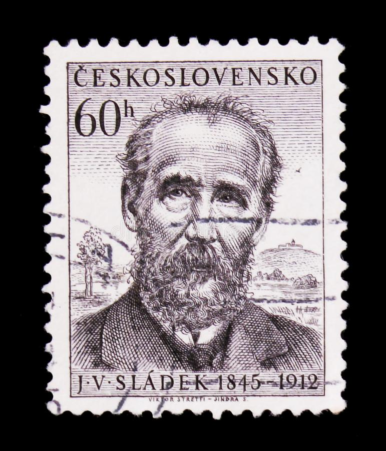 MOSCOW, RUSSIA - JUNE 20, 2017: A stamp printed in Czechoslovakia shows poet J.V, Sladek, circa 1955. MOSCOW, RUSSIA - JUNE 20, 2017: A stamp printed in royalty free stock photo