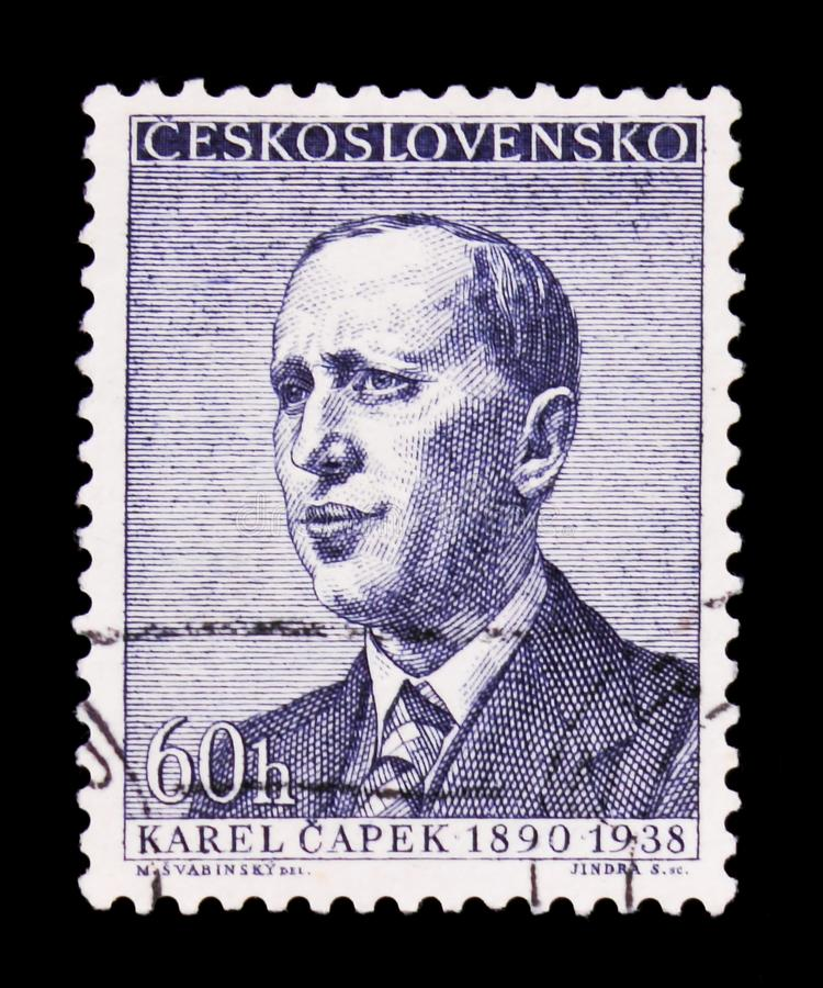 MOSCOW, RUSSIA - JUNE 20, 2017: A stamp printed in Czechoslovakia shows portrait of the Karel Capek, circa 1958 royalty free stock image