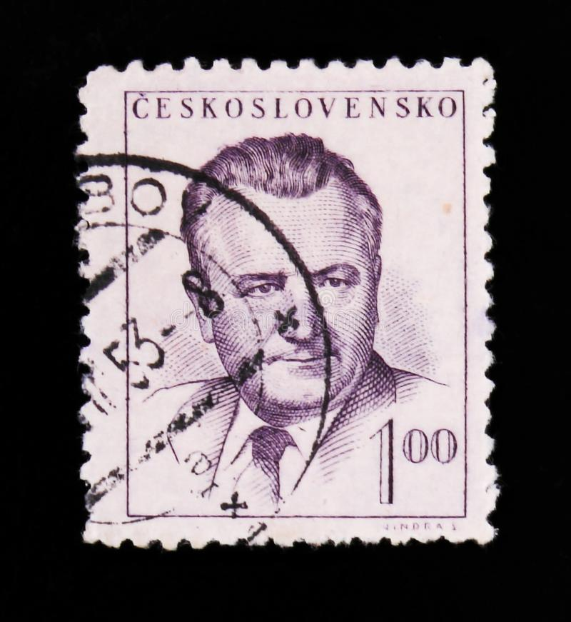 MOSCOW, RUSSIA - JUNE 20, 2017: A stamp printed in Czechoslovakia shows a portrait of President Klement Gottwald, circa 1948 royalty free stock photo