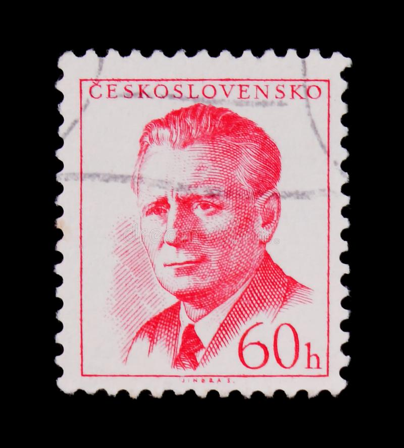 MOSCOW, RUSSIA - JUNE 20, 2017: A stamp printed in Czechoslovakia shows portrait of Czechoslovakia 6th president. Antonin Novotny (general secretary of royalty free stock photography