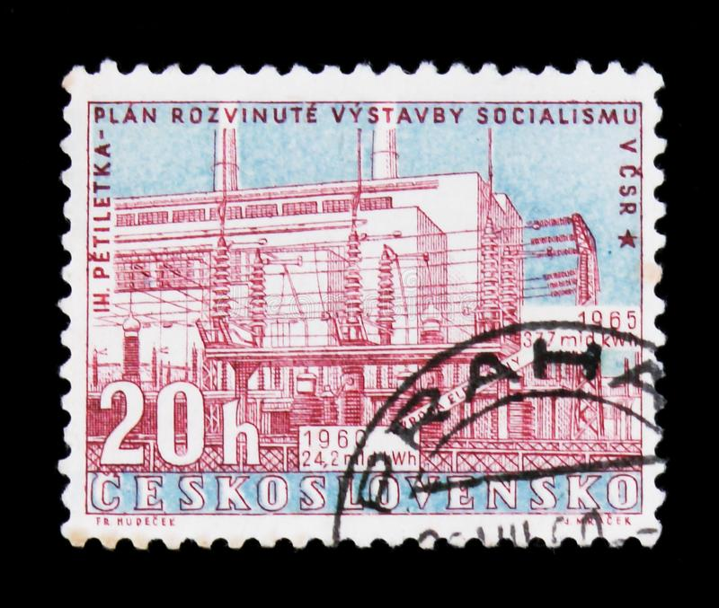 MOSCOW, RUSSIA - JUNE 20, 2017: A stamp printed in Czechoslovakia shows shows Power station, Hodonin, circa 1960 stock photography