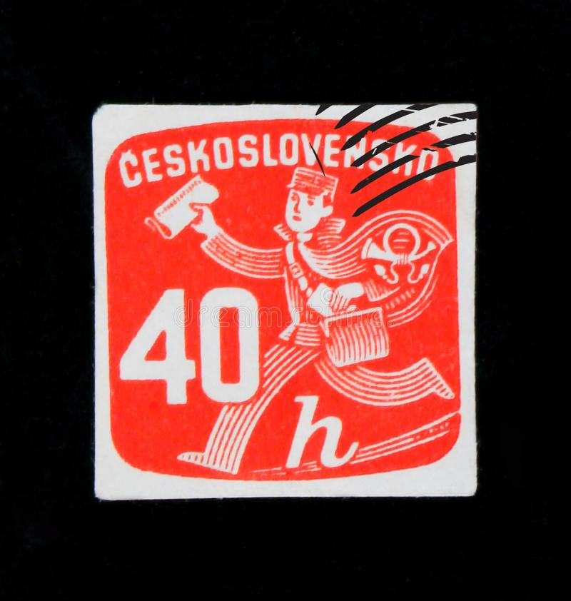 MOSCOW, RUSSIA - JUNE 20, 2017: A stamp printed in Czechoslovakia shows running postman with newspaper, circa 1945 stock photos