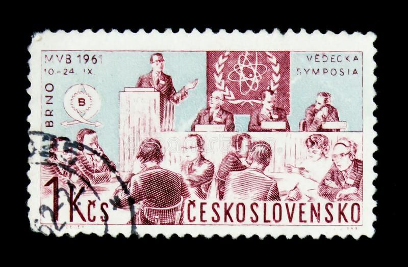 MOSCOW, RUSSIA - JUNE 20, 2017: A stamp printed in Czechoslovakia shows a scientific discussion group, the series. International Trade Fair, Brno, circa 1961 stock images