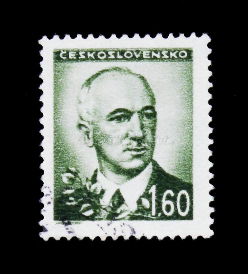 MOSCOW, RUSSIA - JUNE 20, 2017: A stamp printed in Czechoslovakia shows shows 2nd & 4th President of Czechoslovakia -. Edvard Benes, circa 1945 royalty free stock photos